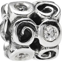 (RETIRED) PANDORA Swirls and CZ Charm
